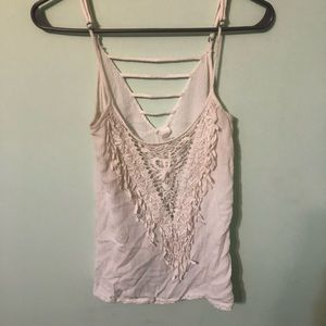 Ivory tank-top with lace